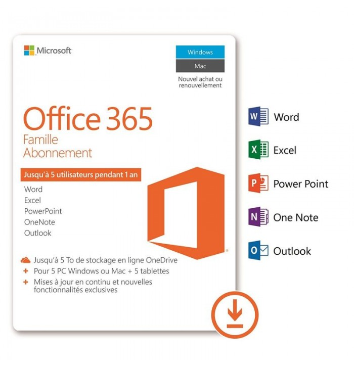 Microsoft Pack Office 365 Famille 5 Postes 1 An Informatique