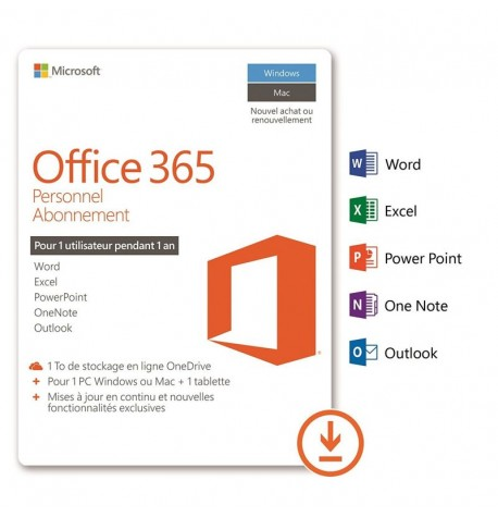 Microsoft Pack Office 365 Personnel (1 poste / 1 an)