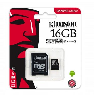 Kingston - Carte mémoire Micro SD 16 Go Canvas select SDHX Class 10 avec adaptateur